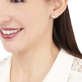 Boucles D'oreilles Puces Dolene Or Blanc Diamant - Clous d'oreilles Femme   Histoire d'Or