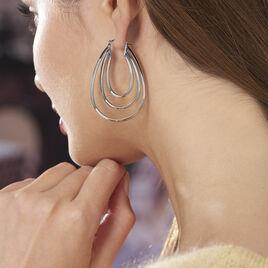 Créoles Aglae Acier Blanc - Boucles d'oreilles créoles Femme   Histoire d'Or