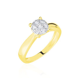 Bague Charlène Or Jaune Diamant Synthetique - Bagues avec pierre Femme | Histoire d'Or