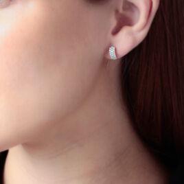 Créoles Jacquelene Rondes Or Jaune Oxyde De Zirconium - Boucles d'oreilles créoles Femme | Histoire d'Or