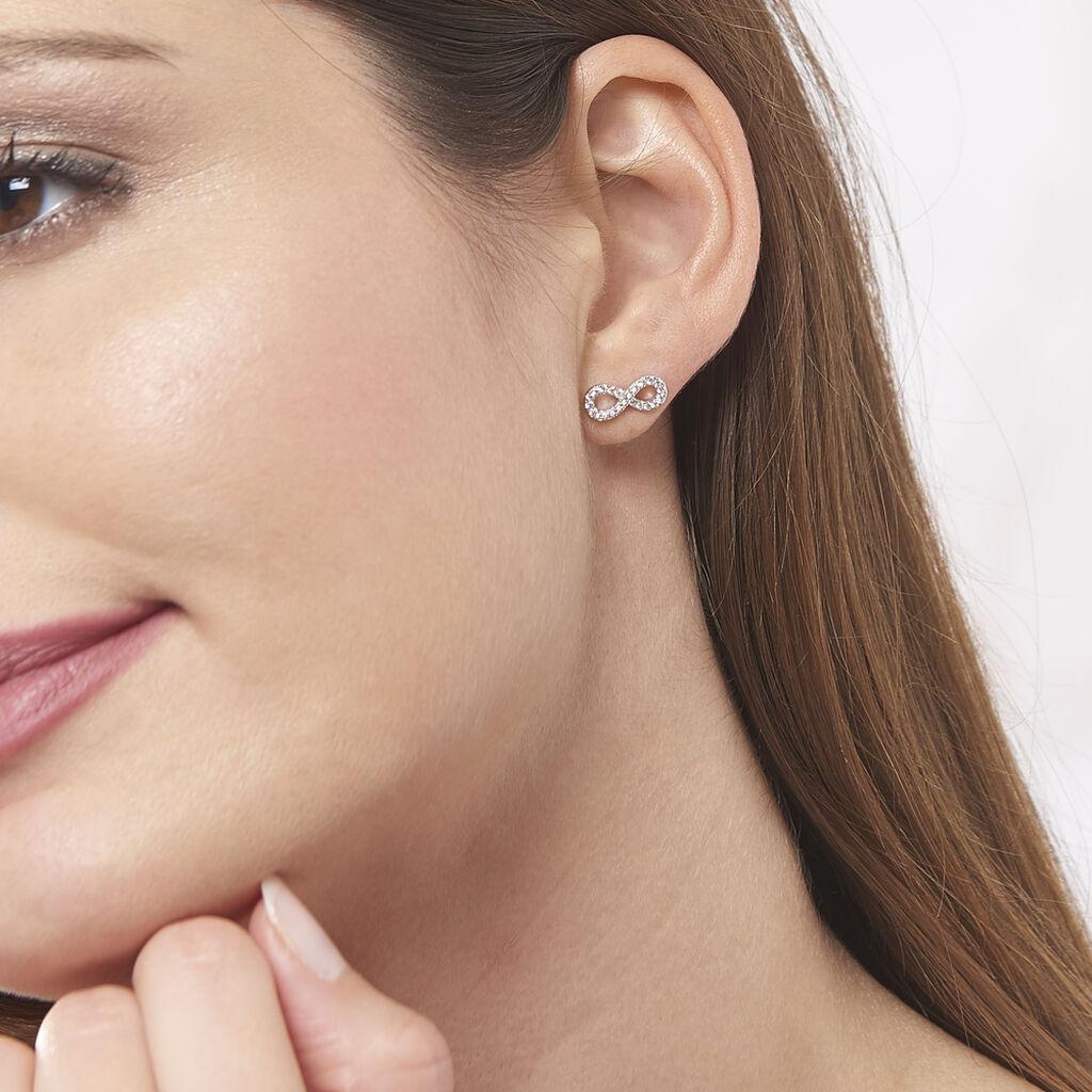 Boucles D'oreilles Puces Lou Argent Blanc Oxyde De Zirconium - Boucles d'Oreilles Infini Femme   Histoire d'Or
