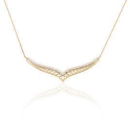 Collier Solena Plaque Or Jaune Oxyde De Zirconium - Bijoux Femme   Histoire d'Or