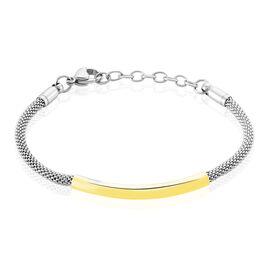 Bracelet Aedan Maille Popcorn Acier Bicolore - Bracelets fantaisie Femme   Histoire d'Or
