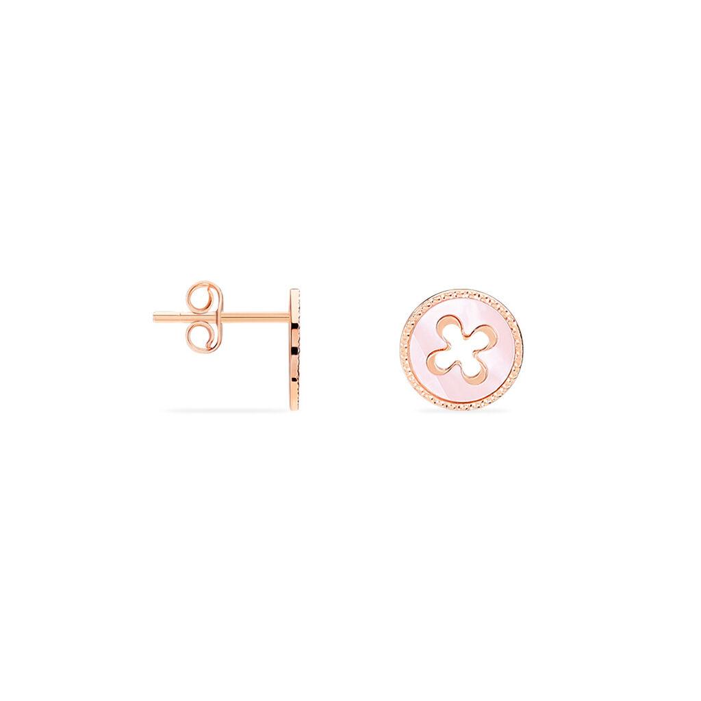 Boucles D'oreilles Liora Or Rose Puces - Boucles d'Oreilles Trèfle Femme | Histoire d'Or