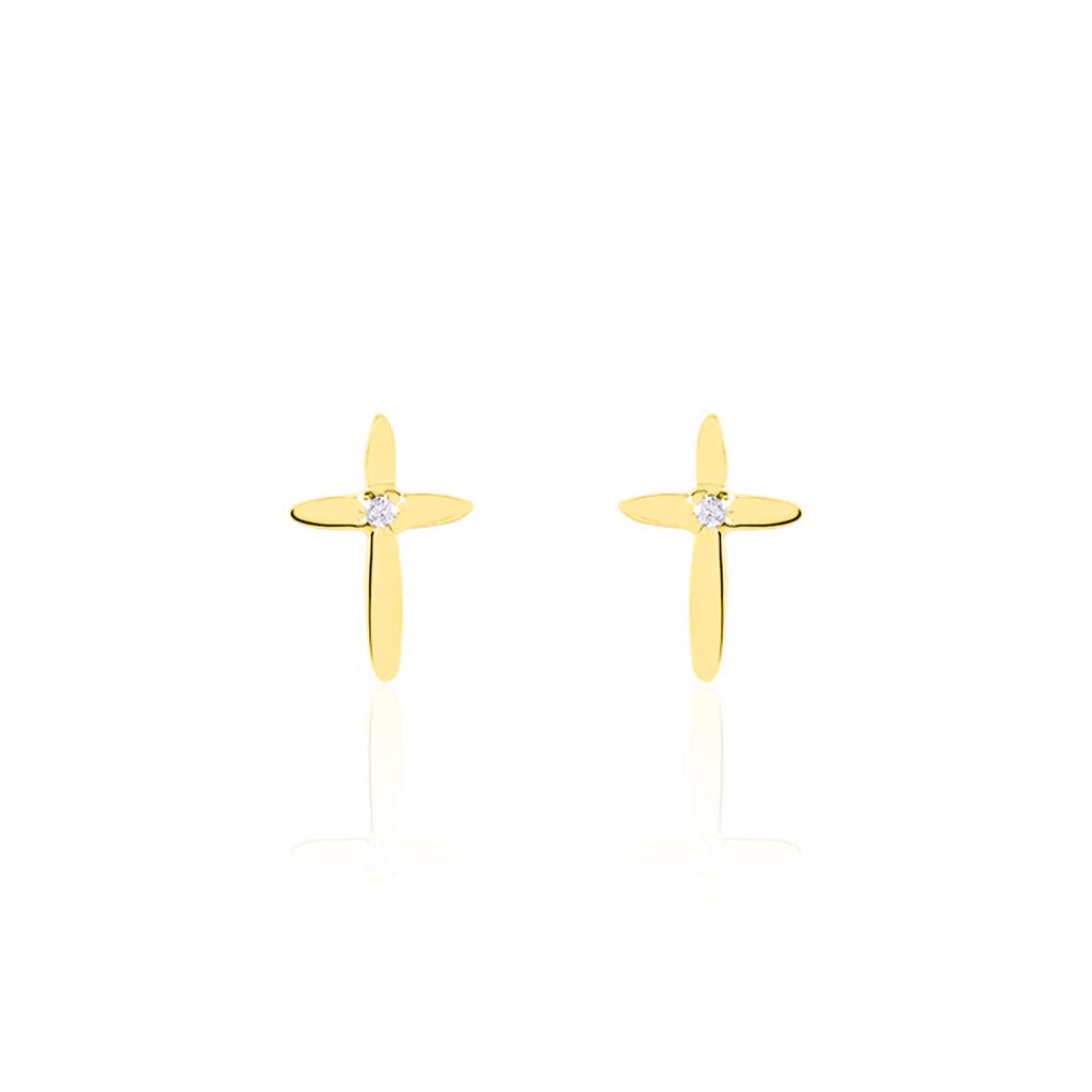 Boucles D'oreilles Pendantes Annaelle Or Jaune - Boucles d'Oreilles Croix Femme | Histoire d'Or