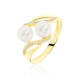 Bague Loeva Or Jaune Perle De Culture Et Oxyde De Zirconium - Bagues avec pierre Femme | Histoire d'Or
