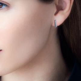 Boucles D'oreilles Puces Houssna Or Blanc Oxyde De Zirconium - Clous d'oreilles Femme | Histoire d'Or