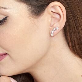 Bijoux D'oreilles Argent Rhodie Fleur Oxyde - Boucles d'oreilles fantaisie Femme | Histoire d'Or