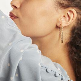 Creoles Acier Dore Antonello - Boucles d'oreilles créoles Femme   Histoire d'Or