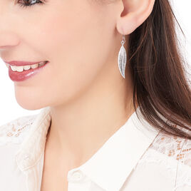 Boucles D'oreilles Pendantes Irene Argent Blanc - Boucles d'Oreilles Plume Femme   Histoire d'Or
