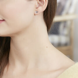 Boucles D'oreilles Puces Edmee Double Cercles Or Blanc Oxyde - Clous d'oreilles Femme | Histoire d'Or