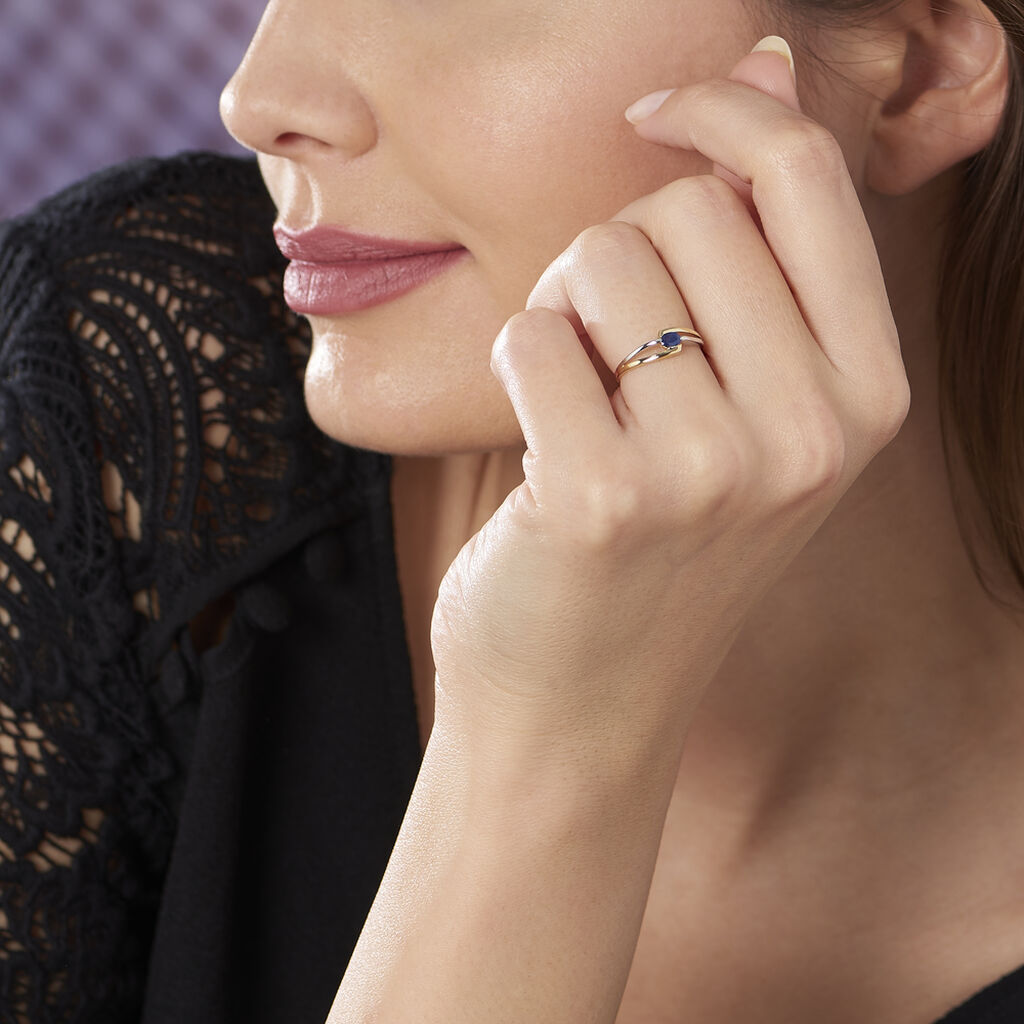 Bague Sylvene Or Bicolore Saphir - Bagues solitaires Femme | Histoire d'Or
