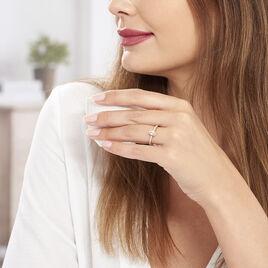 Bague Adelina Or Rose Morganite Et Oxyde De Zirconium - Bagues solitaires Femme   Histoire d'Or