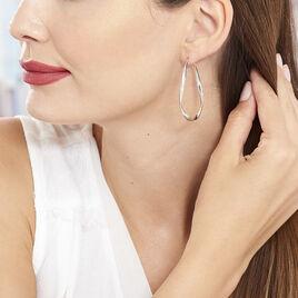 Créoles Charlie Gouttes Helicoidales Argent Blanc - Boucles d'oreilles créoles Femme | Histoire d'Or