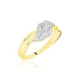 Bague Or Jaune Ricoria Diamants - Bagues avec pierre Femme   Histoire d'Or