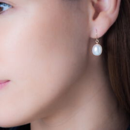 Boucles D'oreilles Pendantes Baroque Or Jaune Perle De Culture - Boucles d'oreilles pendantes Femme | Histoire d'Or