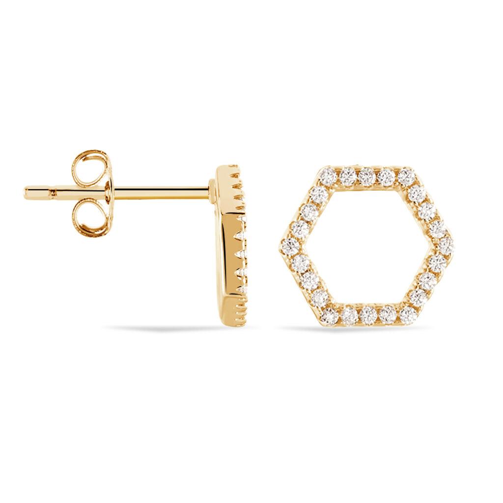 Boucles D'oreilles Pendantes Maria-concetta Plaque Or Oxyde - Boucles d'oreilles fantaisie Femme   Histoire d'Or