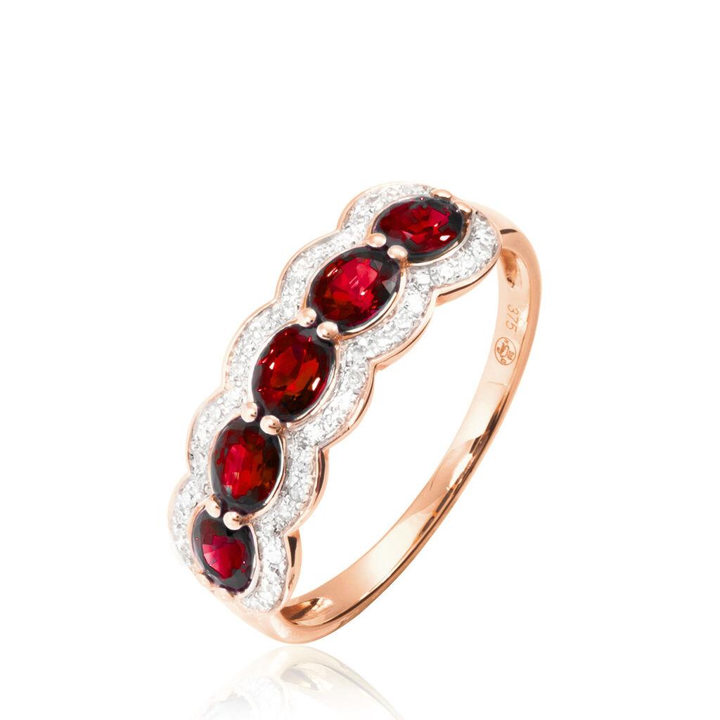 Bague Margaux Or Rose Grenat Et Diamant - Bagues avec pierre Femme   Histoire d'Or