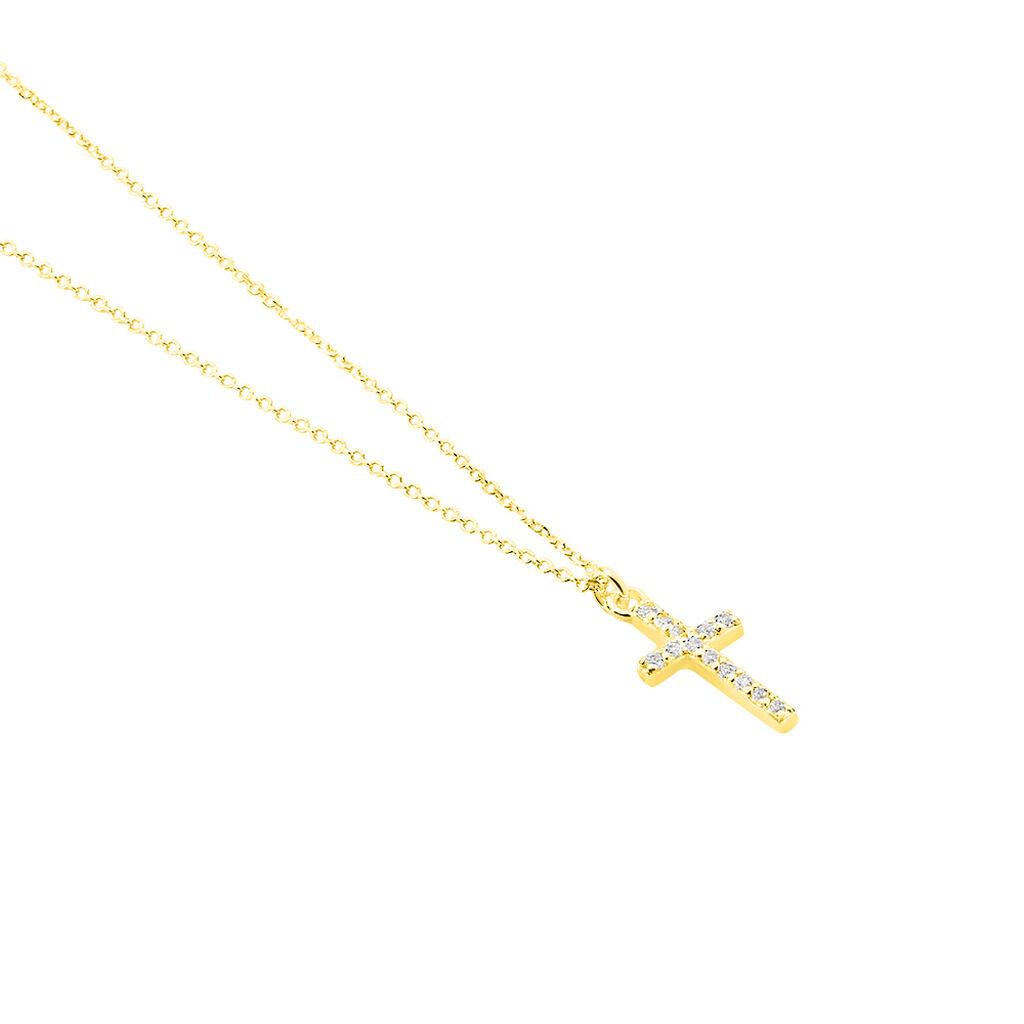 Collier Cobeia Croix Maille Forçat Or Jaune Oxyde De Zirconium - Colliers Croix Femme | Histoire d'Or