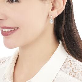 Boucles D'oreilles Pendantes Elisabeth Plaque Or Oxyde De Zirconium - Boucles d'oreilles fantaisie Femme | Histoire d'Or