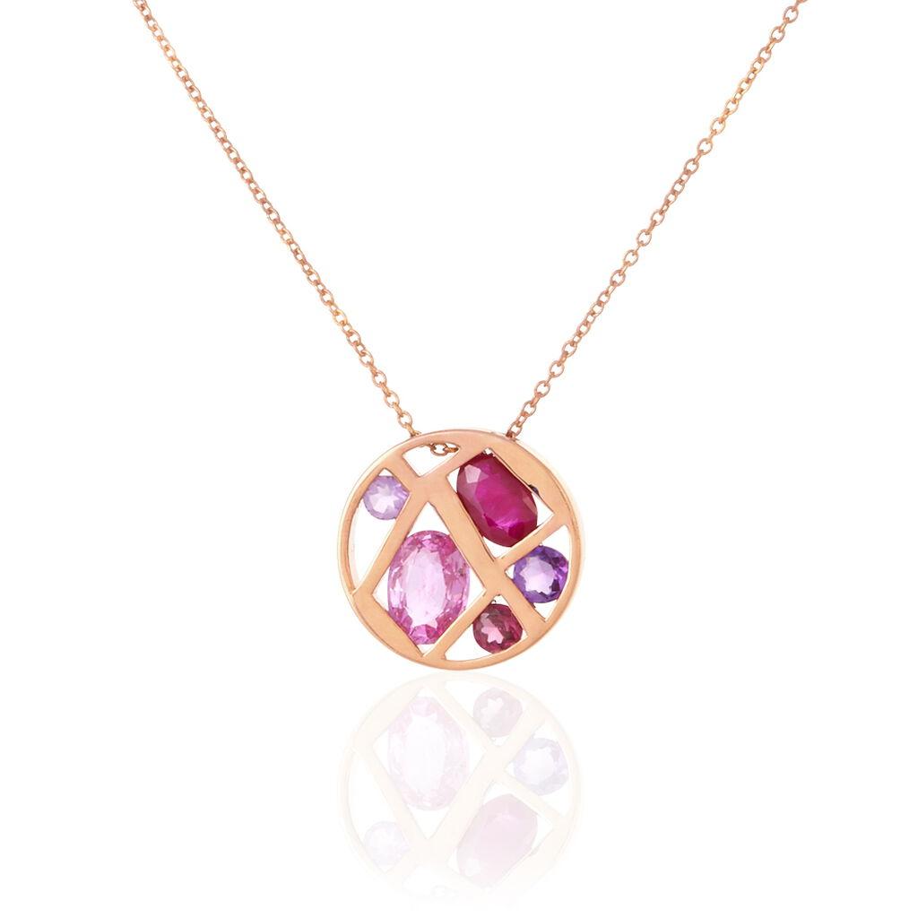 Collier Or Rose Amethyste Saphir - Bijoux Femme   Histoire d'Or
