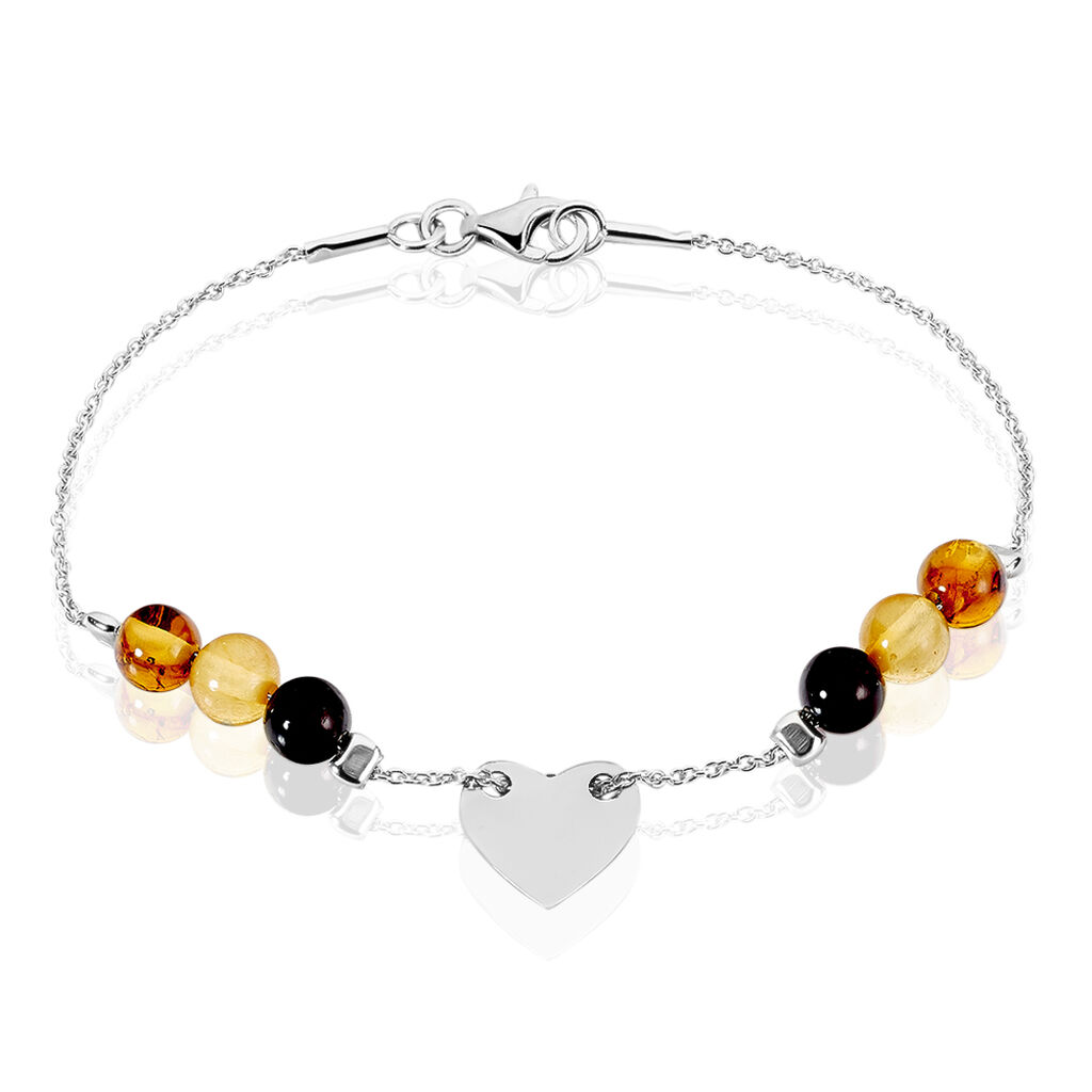 Bracelet Argent Blanc Ambre - Bracelets Coeur Femme   Histoire d'Or