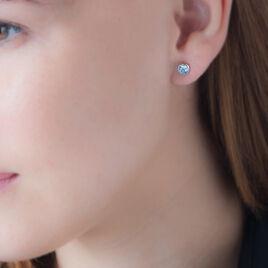 Boucles D'oreilles Puces Klodina Or Blanc Topaze - Boucles d'Oreilles Coeur Femme | Histoire d'Or