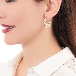 Créoles Coralie Plaque Or Jaune - Boucles d'oreilles créoles Femme   Histoire d'Or