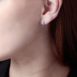 Créoles Jacoba Rondes Or Blanc Oxyde De Zirconium - Boucles d'oreilles créoles Femme   Histoire d'Or