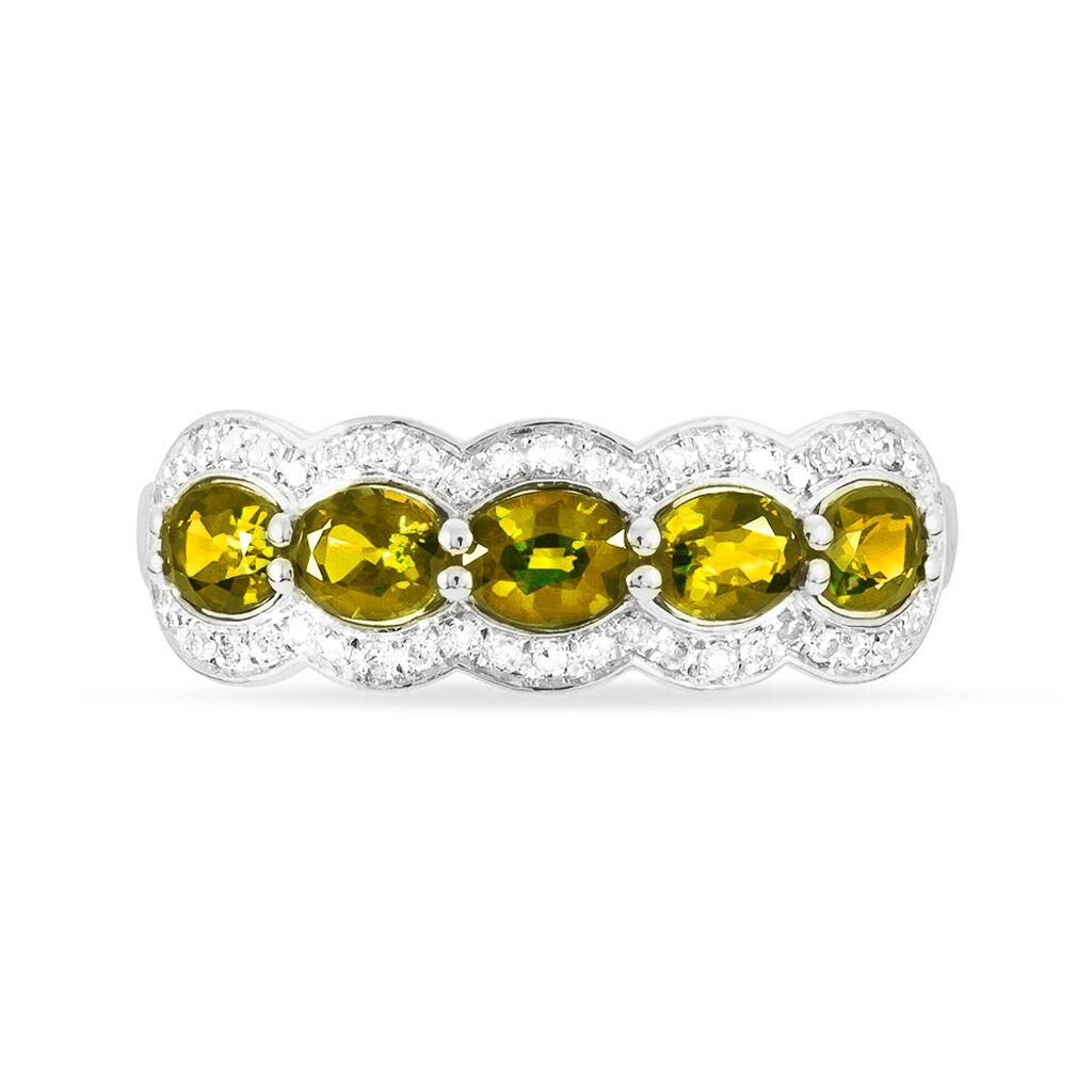 Bague Margaux Or Blanc Citrine Et Diamant - Bagues avec pierre Femme   Histoire d'Or