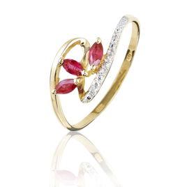 Bague Naceira Or Bicolore Rubis Et Diamant - Bagues avec pierre Femme | Histoire d'Or