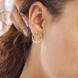 Boucles D'oreilles Pendantes Celene Argent Rose Oxyde De Zirconium - Boucles d'oreilles fantaisie Femme   Histoire d'Or
