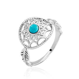 Bague Argent Rhodie Lina Attrape Reves Turquoise - Bagues Attrape rêves Femme | Histoire d'Or