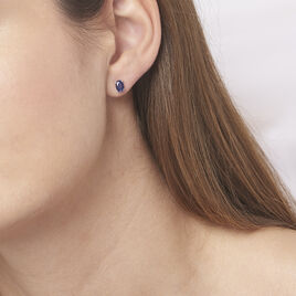 Boucles D'oreilles Puces Ovale Or Blanc Saphir - Clous d'oreilles Femme | Histoire d'Or