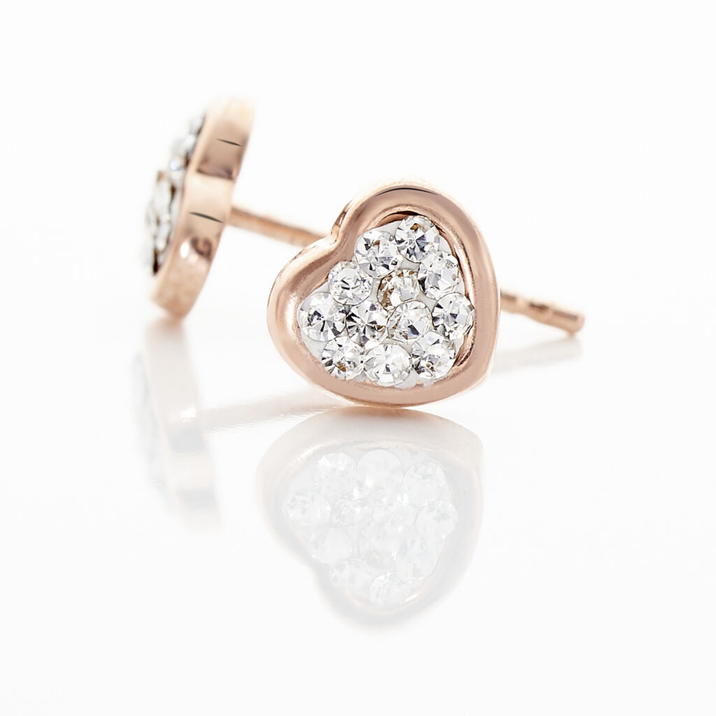 Boucles D'oreilles Puces Daria Cœur 0 Or Rose Strass - Boucles d'Oreilles Coeur Femme | Histoire d'Or