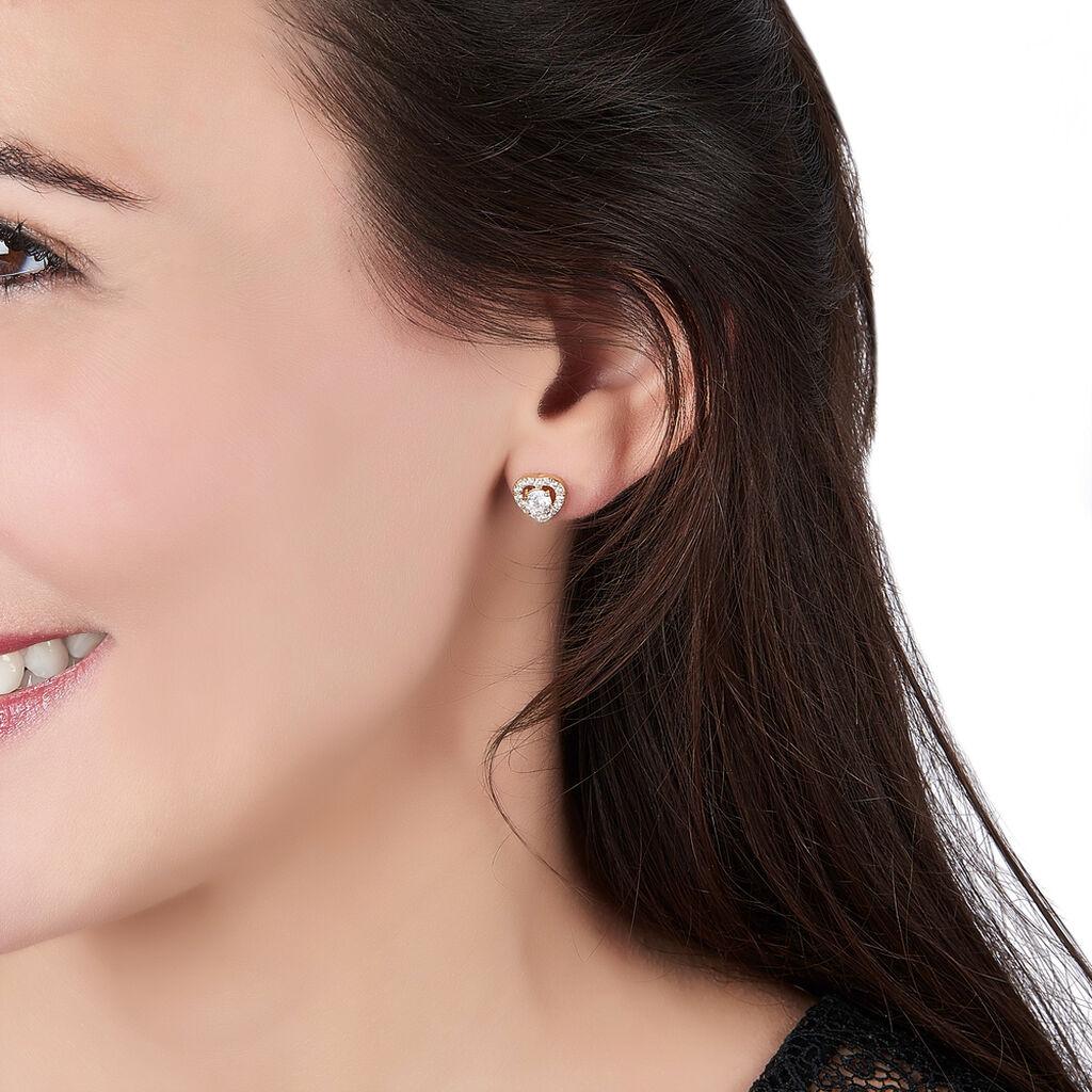 Boucles D'oreilles Puces Alais Plaque Or Jaune Oxyde De Zirconium - Boucles d'Oreilles Coeur Femme | Histoire d'Or