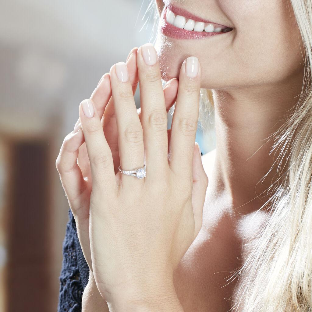 Bague Solitaire Carolina Or Blanc Oxyde De Zirconium - Bagues avec pierre Femme   Histoire d'Or