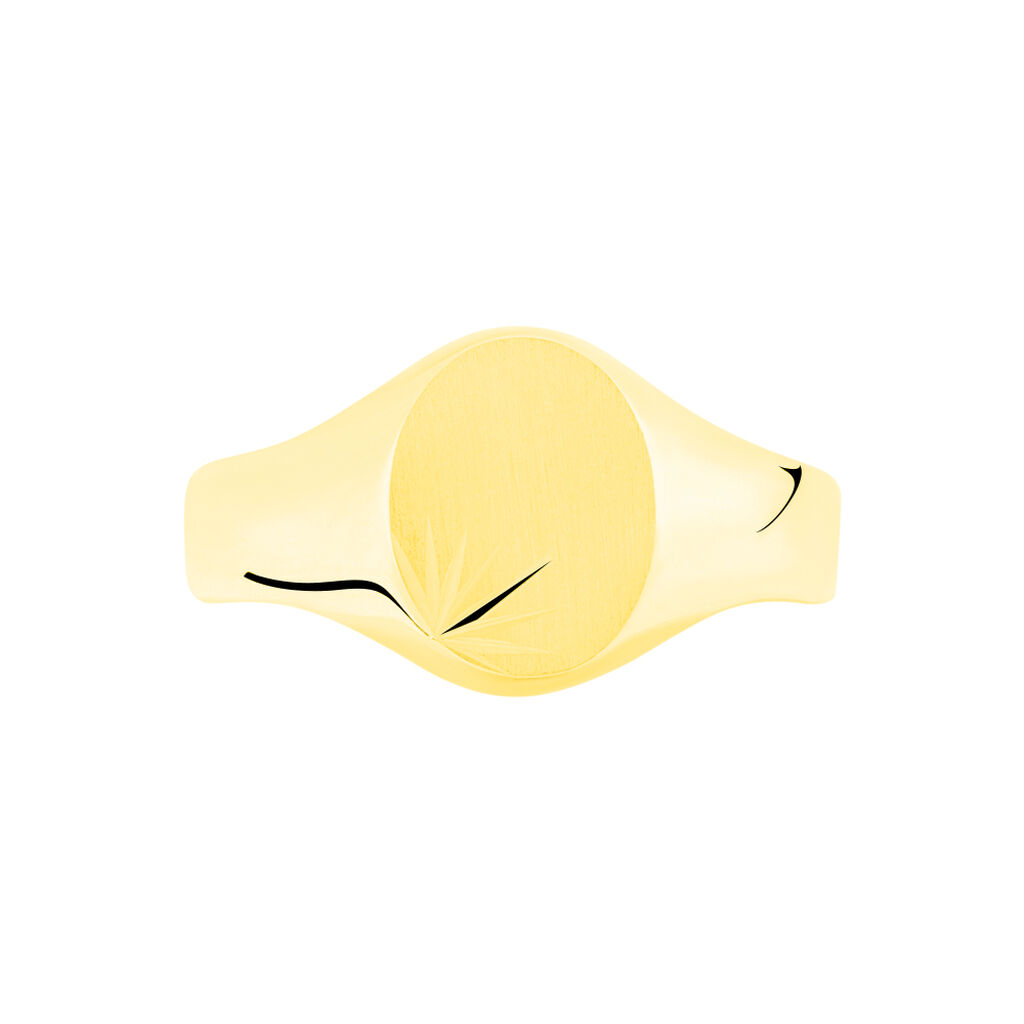 Chevalière Ovale Diamantee Soleil Or Jaune - Chevalières Famille | Histoire d'Or