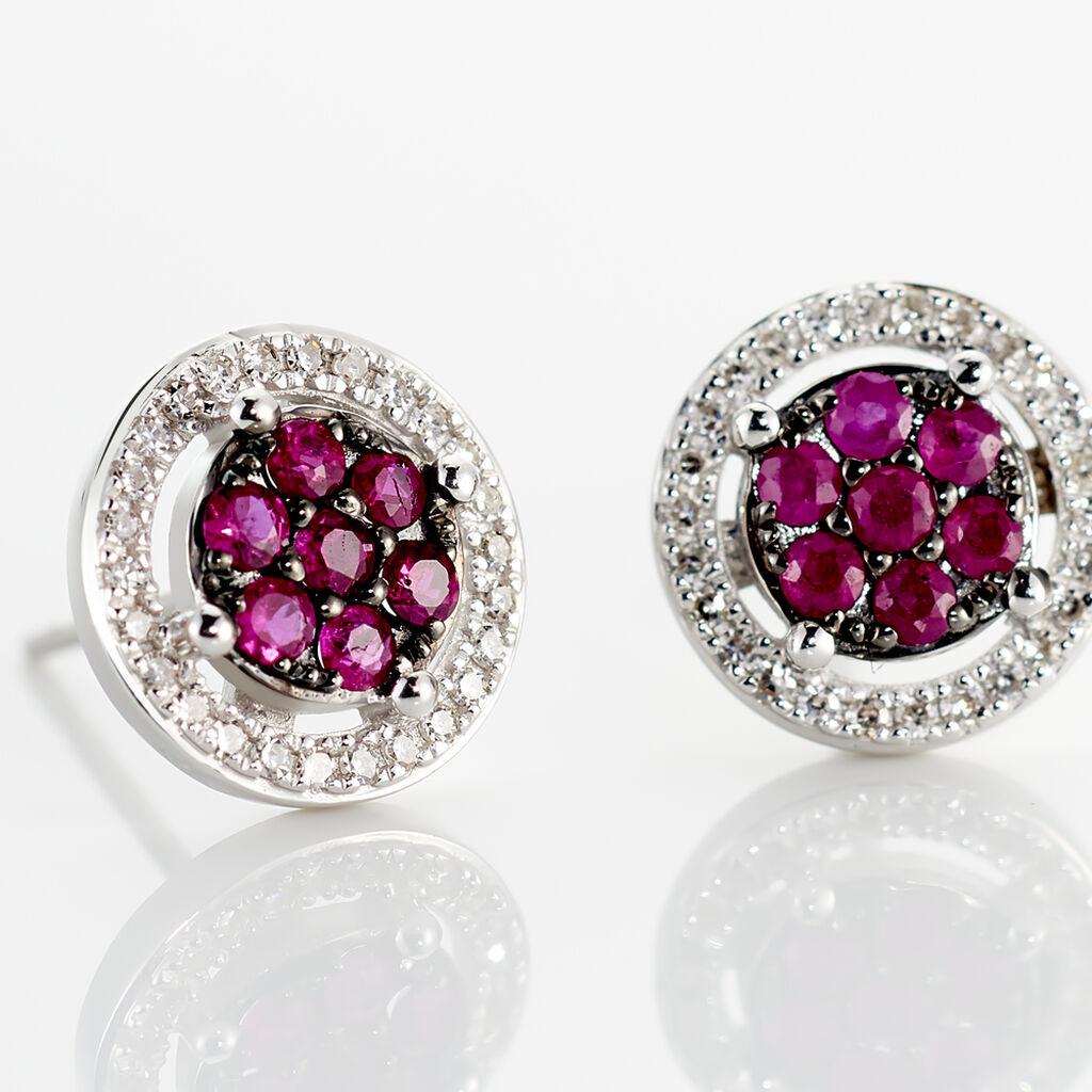 Boucles D'oreilles Puces Lise-laure Or Blanc Rubis Et Diamant - Clous d'oreilles Femme   Histoire d'Or