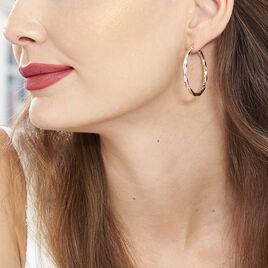 Creoles Argent Rose Carrees Helicoidales - Boucles d'oreilles créoles Femme | Histoire d'Or