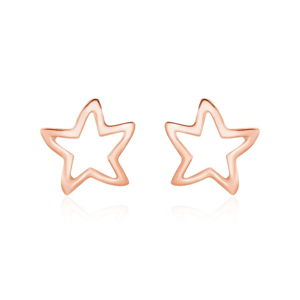 Boucles D'oreilles Puces Alphonsine Etoile De Mer Or Rose - Boucles d'Oreilles Etoile Femme   Histoire d'Or