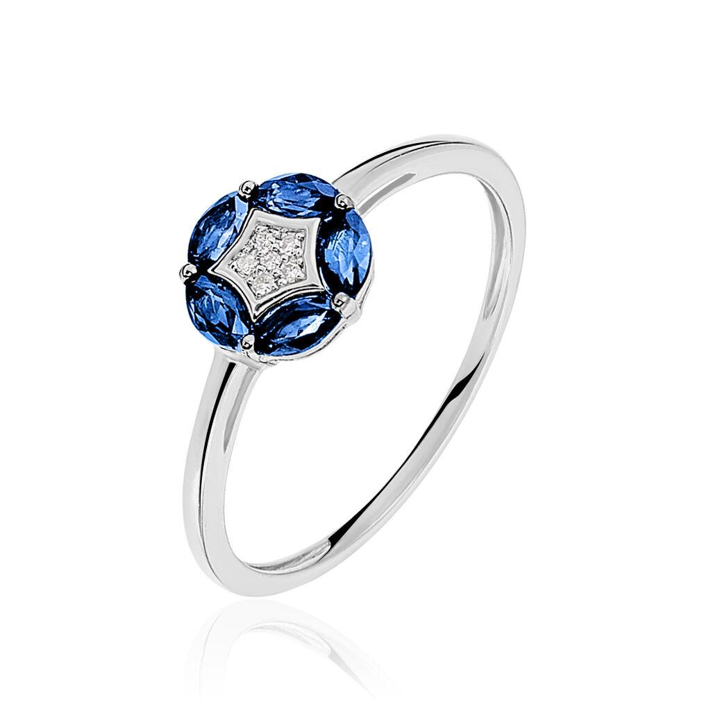 Bague Milana Or Blanc Saphir Et Diamant - Bagues avec pierre Femme   Histoire d'Or