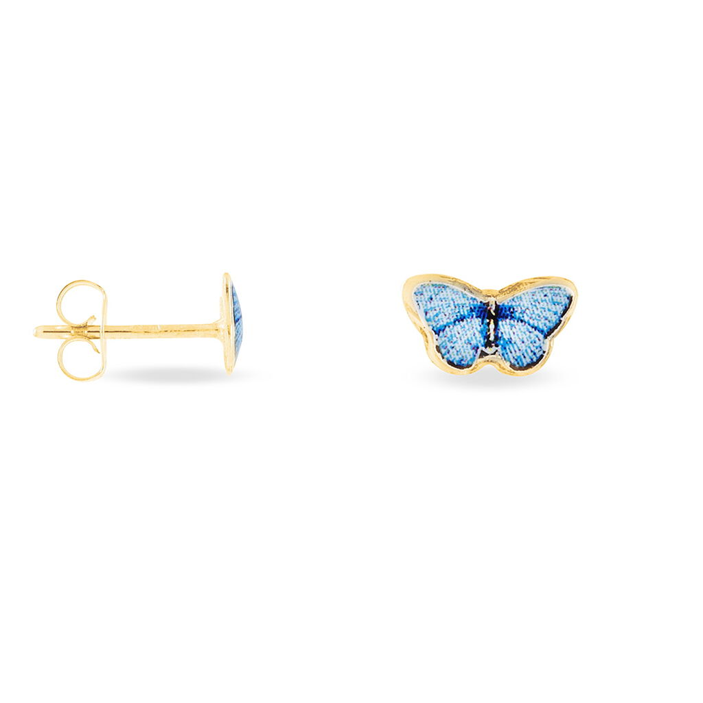 Boucles D'oreilles Puces Sulivia Papillon Or Jaune - Boucles d'Oreilles Papillon Enfant   Histoire d'Or