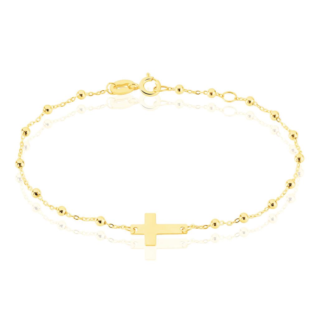 Bracelet Cobeia Maille Boule Or Jaune - Bracelets Baptême Enfant | Histoire d'Or