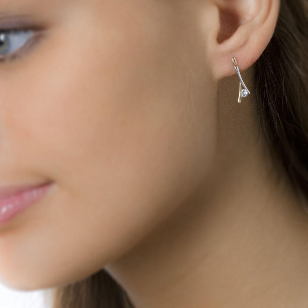 Boucles D'oreilles Pendantes Formev Or Bicolore Oxyde De Zirconium - Boucles d'oreilles pendantes Femme   Histoire d'Or