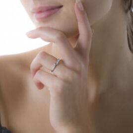 Bague Elisabette Or Blanc Oxyde De Zirconium - Bagues avec pierre Femme | Histoire d'Or
