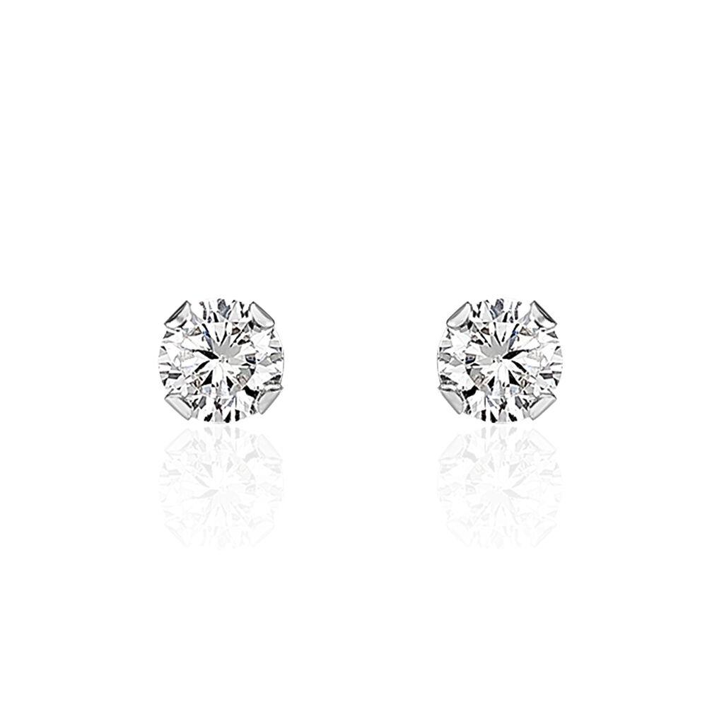 Boucles D'oreilles Puces Flory Or Blanc Oxyde De Zirconium - Clous d'oreilles Femme | Histoire d'Or