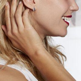 Boucles D'oreilles Sagesse Or Blanc Topaze Oxyde - Clous d'oreilles Femme | Histoire d'Or
