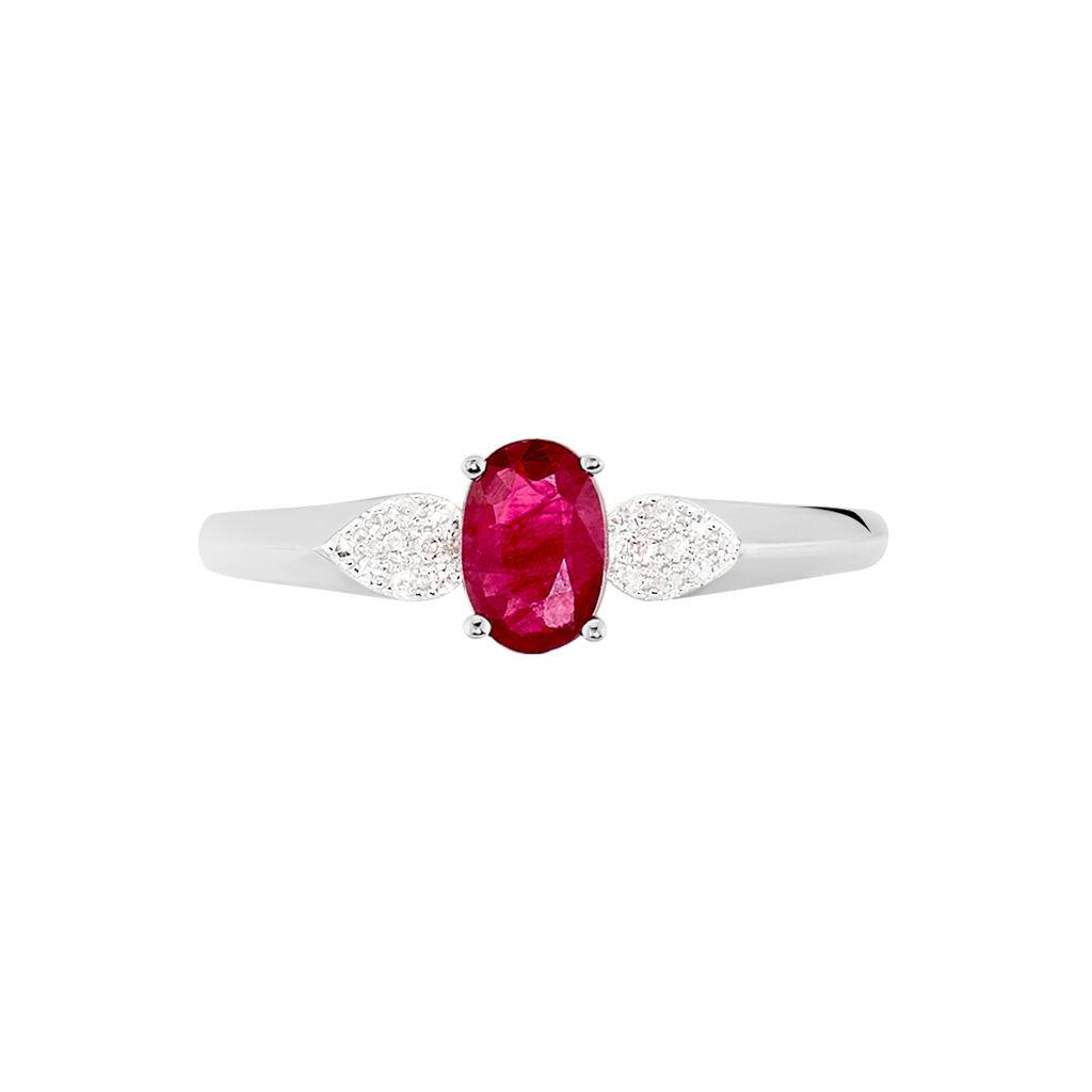 Bague Edgina Or Blanc Rubis Et Diamant - Bagues solitaires Femme | Histoire d'Or