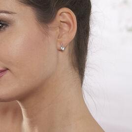 Boucles D'oreilles Or Blanc Clotilde Topazes Oxydes - Boucles d'Oreilles Coeur Femme | Histoire d'Or